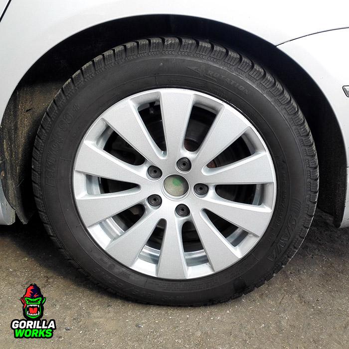 Покраска дисков R16 VW Passat B6 порошковой краской серебряного цвета